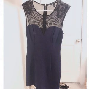 Navy Mesh Beaded Dress